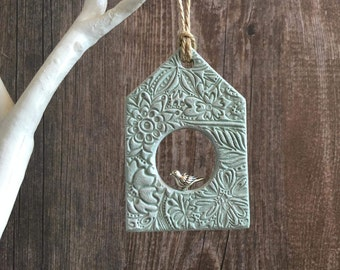 Green & White Birdhouse Decoration - unique birdhouse, decorative birdhouse, rustic birdhouse, wall hanging, door hanger, clay tags