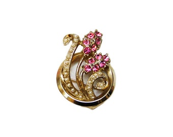 Vintage Gold Tone Brooch with Pink Rhinestones, Small Faux Pearls, Ornate Brooch, Statement Brooch