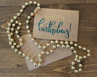 Happy Birthday Hand Lettered Card| Birthday Card| Modern Calligraphy Birthday Card