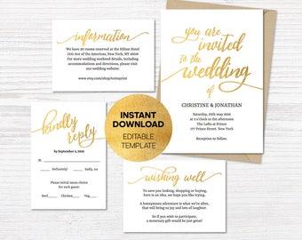Wedding Invitation Printable Suite, Gold Glitter, Customisable Wedding Invites, DIY Wedding Invitation Set, Wishing well, Rsvp Details Card