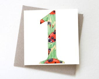 Number 1 Ladybirds // First Birthday Card, 1st birthday card, Number 1 birthday, Age card, Greeting card, Colourful card, Ladybugs