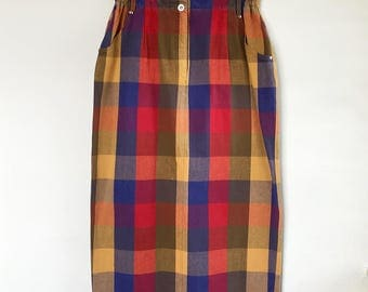 90s plaid pattern cotton skirt