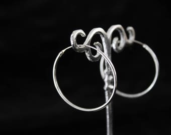 Sterling silver hoops.Sterling silver earrings.Ethnic jewellery.Classics sterling silver hoops earrings.Gift for her.Boho earrings.Creole
