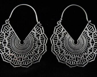 Silver plated tribal mandala earrings.Unique geometric earrings.Unique tribal mandala earrings.Flower mandala earrings.New tibetan style