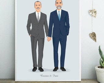 Custom portrait, Digital Illustration to print, couple portrait, personalized gift, portrait drawing