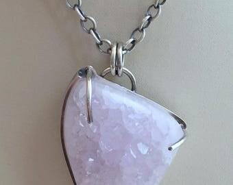 Light Amethyst Druzy Necklace
