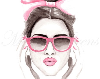 Pink Accessories Fashion Print, Fashion Illustration, Giclee Print, Art Print 8x10 Decor Wall Art, Watercolor Print