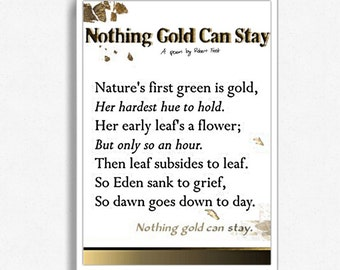 """Robert Frost Poem - Framed - """"Nothing Gold Can Stay"""""""