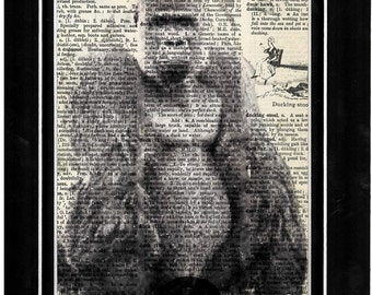 299 Gorrilla/art/vintage dictionary paper art print