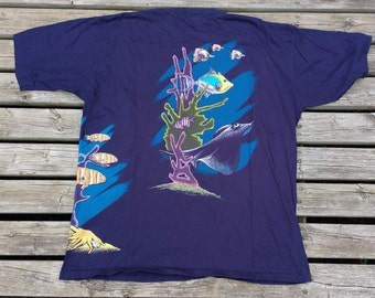 Killer Vintage 90's All Over Print Shark Deep Sea Ocean Bright Colours Made in Canada XL double sided neon