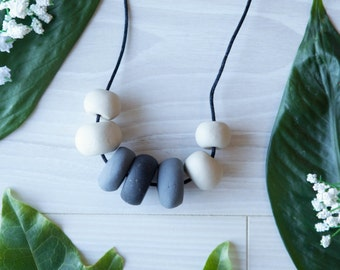Reagan—Handmade necklace with ombre polymer clay beads