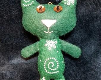 Green Snowflake Kitty (Cat Doll Ornament Keychain)