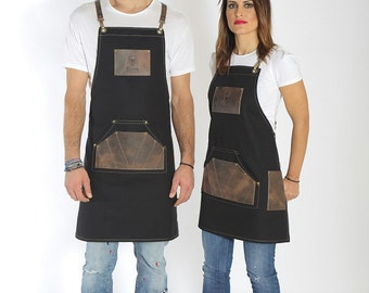 Barber apron, high quality leather, personalized with your logo in brown leather variations - Dom