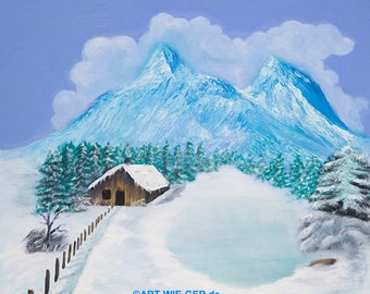 Cabin in the snow, oil painting hand painted on canvas stretcher 50x50cm.