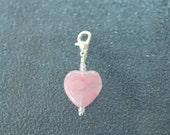Pink Glass Heart- Progress Keeper Stitch Marker for Crocheting and Knitting or Bag Charm Zipper Pull  SPK523