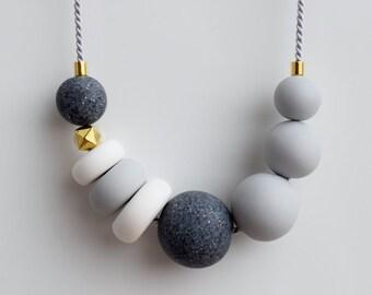 Gray Statement necklace, Gray Chunky necklace, Modern Beaded jewelry, Minimal necklace, Geometric necklace, Minimalist Polymer Clay necklace