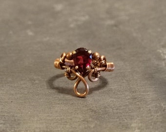 Rhodolite Garnet Copper Wire Ring