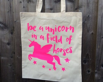 Unicorn Tote Bag, Pink, Gift for a girl, 36 x 36 cm, Motivational Quote, Can be personalised, Personalized colours, positive bag