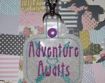 Adventure Awaits Key Chain/ Snap Tab