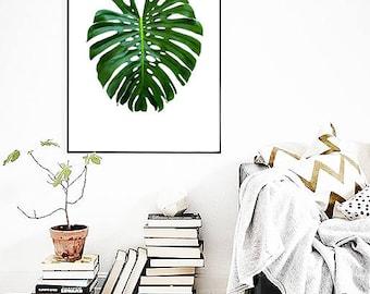 Monstera Leaf PRINT, Leaf Poster, Large Wall Art, Botanical Print, Banana Leaf, Plant Wall Art, Tropical Decor