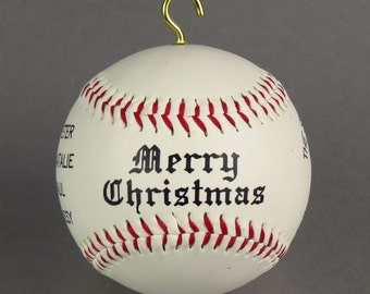 Custom Baseball Christmas Ornament - Personalized with your family name and message !