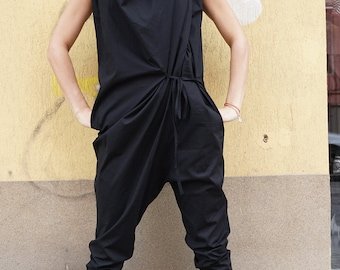 Sexy Black Cotton Drop Crotch Overall / Party Oversized Asymmetric Extravagant Front Jumpsuit / Clubwear / Chic Romper