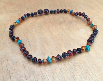Turquoise & Amber Kid's Necklace, Baltic amber children's necklace, amber necklace for headaches, growing pains, gas, calming, turquoise kid