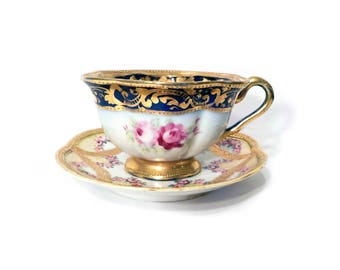 Nippon Hand Painted Moriage Tea Cup and Saucer by BigMuddyVintageShop