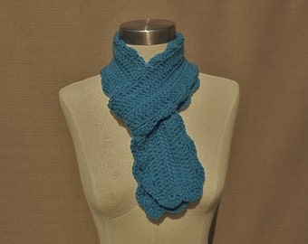 Hand Crocheted Sky Blue Scarf, Blue Scarf, Hand Made Scarf, Hand Crocheted Scarf, 100% Acrylic