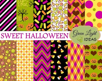 Sweet Halloween Digital Papers, Halloween Scrapbook Paper, Halloween Backgrounds, Halloween Digital Patterns, Halloween Printable Papers