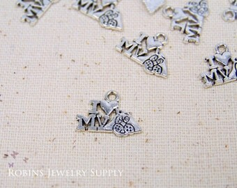 14 pcs - Antique Silver - I Love My Dog Charms - Dog Charms - Animal Charms - I Love My Dog - Dog Jewelry - Jewelry Charms - Charms - C0010