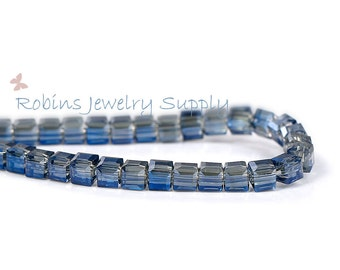 99 pcs - Blue Transparent - Glass Beads - Faceted Glass Beads - Square Beads - Blue Glass Beads - Jewelry Beads - Blue Square Beads - B006