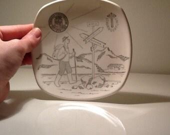 Rare Stavangerflint Earthenware Plate Norway Stavanger Souvenir Wall Plate Pin Dish Rambler Hiker