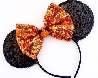 The Full Sequin (Pumpkin) - Handmade Halloween Inspired Mouse Ears Headband
