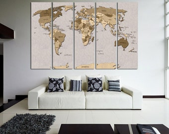 Push Pin World Map Canvas Print World Map Wall Art Set World Map Print World Map Poster Wall Art Canvas Extra Large World Map Wall Decor