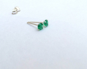Emerald earrings, emerald studs, 925 Sterling silver emerald earrings, emerald silver studs, dainty earrings, emerald jewellery