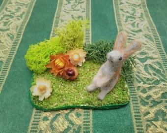 Needle felt animal garden, bunny