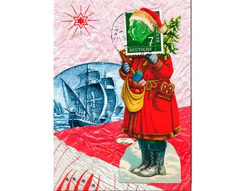 """Christmas card """"A ship will come"""" (10), Santa Claus, Santa Claus, Christmas gifts, gingerbread, ship, postage stamp"""