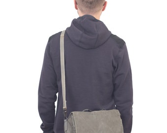 Grey Canvas Messenger Bag, Laptop messenger bag, Mens Vintage Bag from 1980's