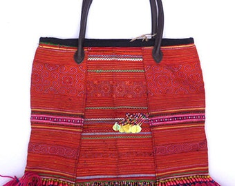 Hmong Embroidered Carry Bag Hill Tribe Textile Handmade