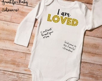 Sign the Onesie, Guestbook Baby Onesie, I am Loved Onesie, Baby Shower Onesie, Baby Shower Gift, Baby Shower Activity