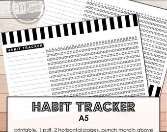 Printable 31 days Habit Tracker inserts for A5 Planners to support your personal growth, skills, wellbeing, fitness and happiness