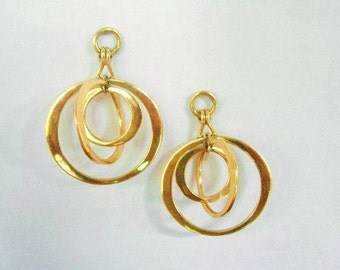 14K Gold Hoop Dangle Earrings Handmade Jewelry High Fashion Unique Gift For Her