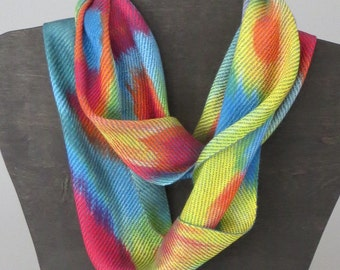Hand dyed, Hand woven Infinity Scarf