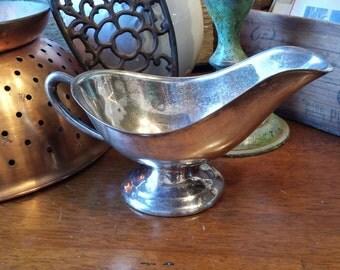 Silver Plated Gravy Boat - C.S. Silver on Copper - Silver Server - Sauce Boat