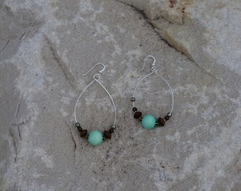 essentail oil jewelry!  sterling silver hoops with wood beads