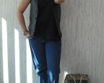 Vintage Leather Grunge Vest