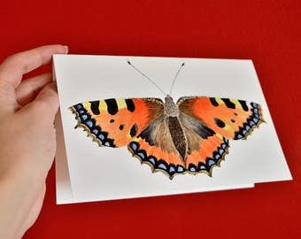Folded postcard with white envelope: Watercolor tortoiseshell butterfly print