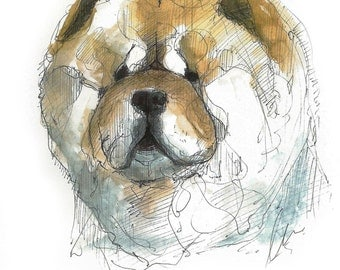 Chow Chow, illustration in watercolor, blade A5, A4 or A3, dog art