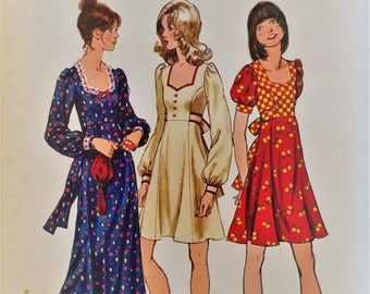Vintage 1970's Simplicity sewing pattern 5347 - Misses dress in two lengths - size 14